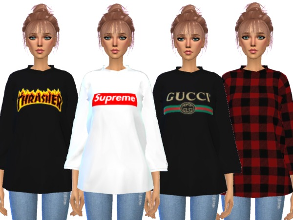 Over sized Tee Shirts by Wicked Kittie at TSR image 517 Sims 4 Updates