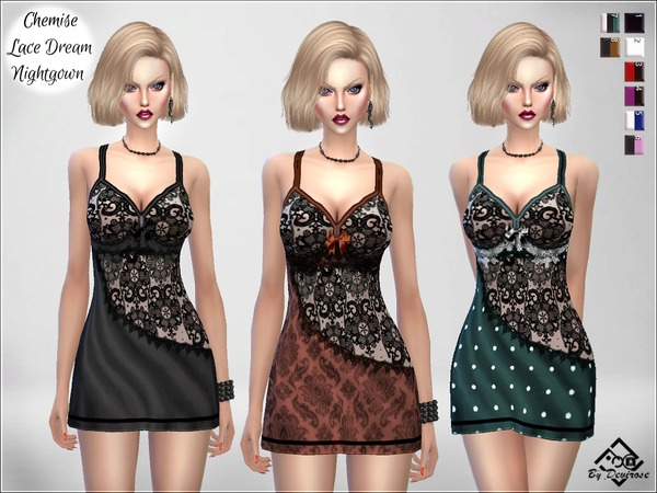 Sims 4 Chemise Lace Dream Nightgown by Devirose at TSR