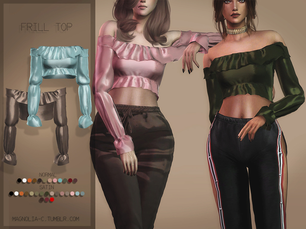 Sims 4 Frill Top by Magnolia C at TSR