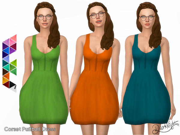 Sims 4 Corset Puffball Dress by DarkNighTt at TSR