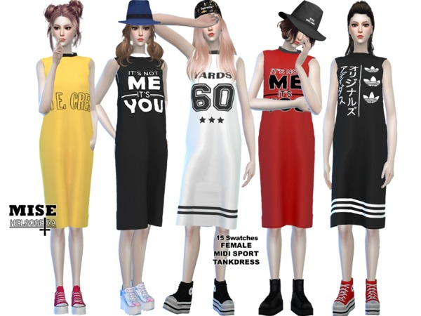 Sims 4 MISE Sport Midi Dress by Helsoseira at TSR