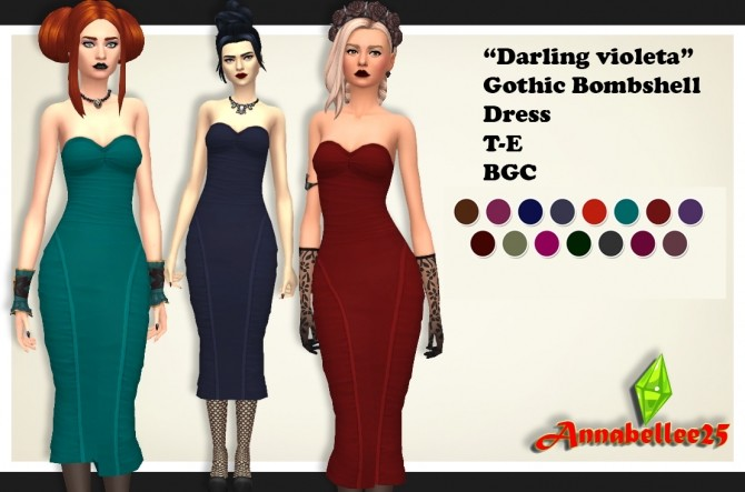 Sims 4 Darling Violeta Gothic Bombshell Dress by Annabellee25 at SimsWorkshop