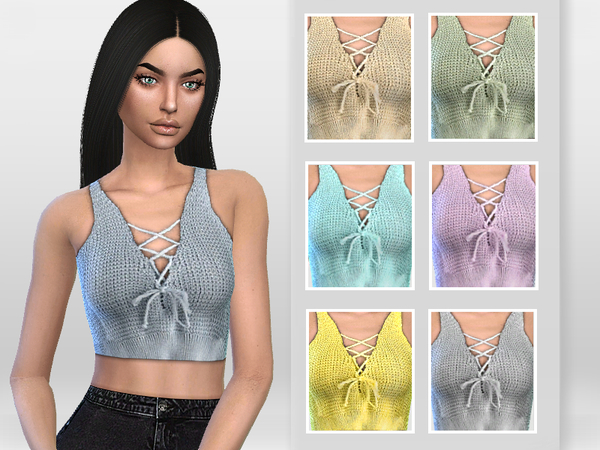 Lace up Front Crochet Top by Puresim at TSR image 5817 Sims 4 Updates