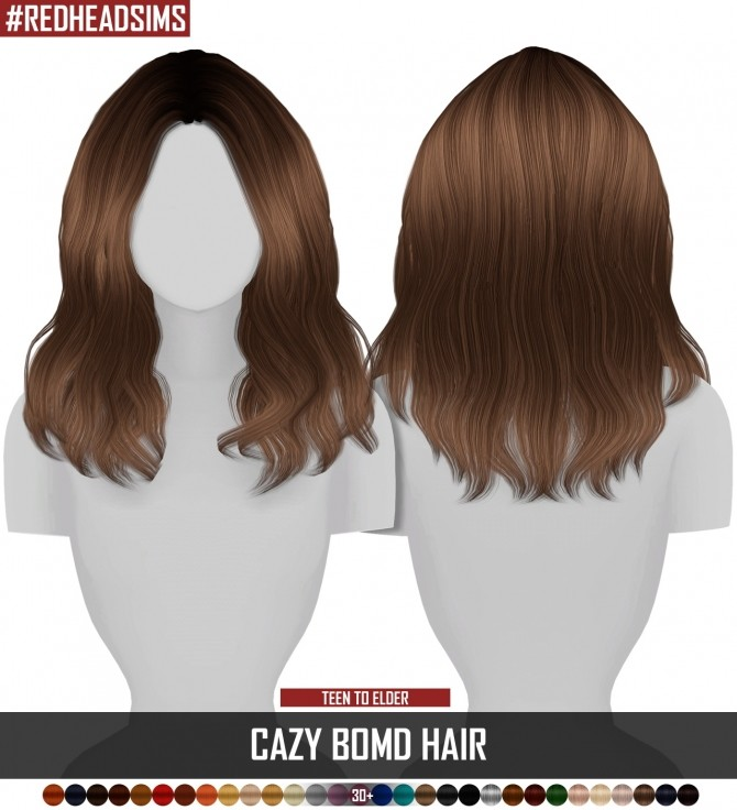 CAZY BOMD HAIR retexture at REDHEADSIMS image 587 670x736 Sims 4 Updates