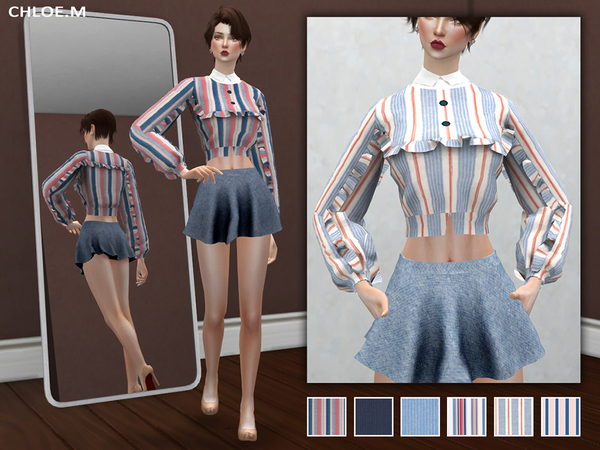 Sims 4 Blouse with falbala 02 by ChloeMMM at TSR