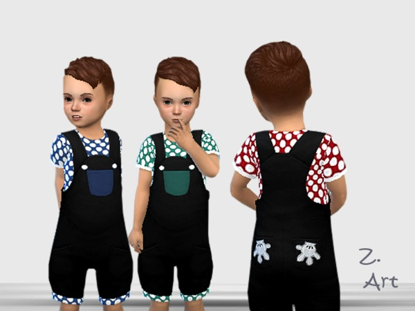 Sims 4 BabeZ 42 funny dungarees with shirt by Zuckerschnute20 at TSR