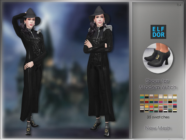 Sims 4 Rococo Shoes for Ladies or Shoes for Modern Witch at Elfdor Sims