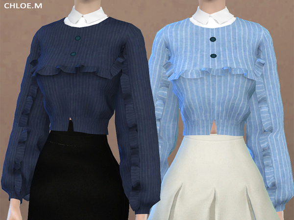 Blouse with falbala 02 by ChloeMMM at TSR image 60 Sims 4 Updates