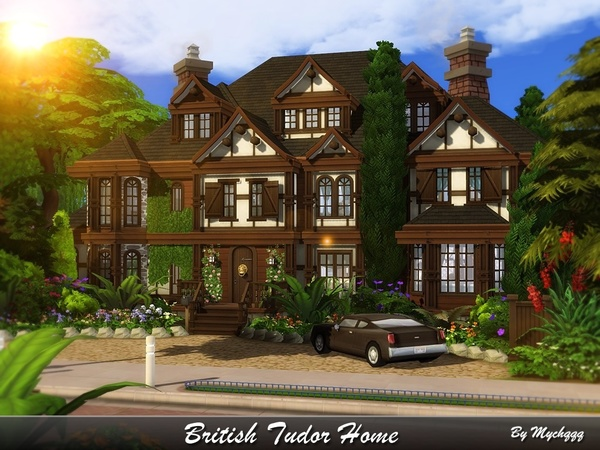 Sims 4 British Tudor Home by MychQQQ at TSR