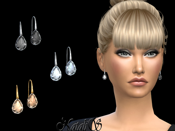 Pear cut crystal earrings by NataliS at TSR image 6115 Sims 4 Updates