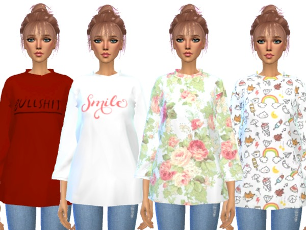 Over sized Tee Shirts by Wicked Kittie at TSR image 617 Sims 4 Updates