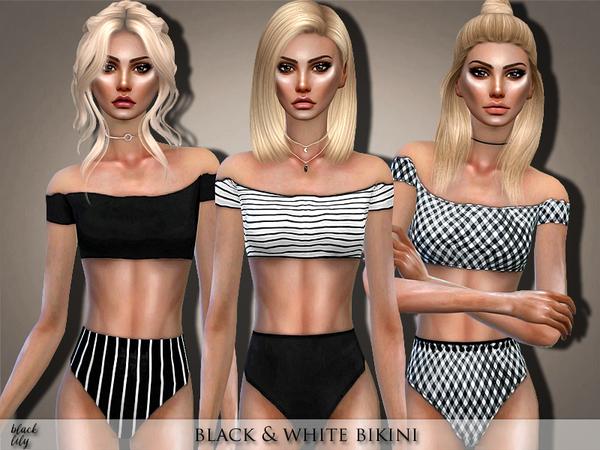 Black & White Bikini by Black Lily at TSR image 625 Sims 4 Updates