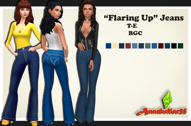 Flaring Up Jeans by Annabellee25 at SimsWorkshop image 631 670x443 Sims 4 Updates