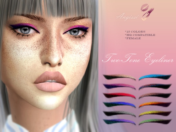Sims 4 TWO TONE EYELINER by ANGISSI at TSR