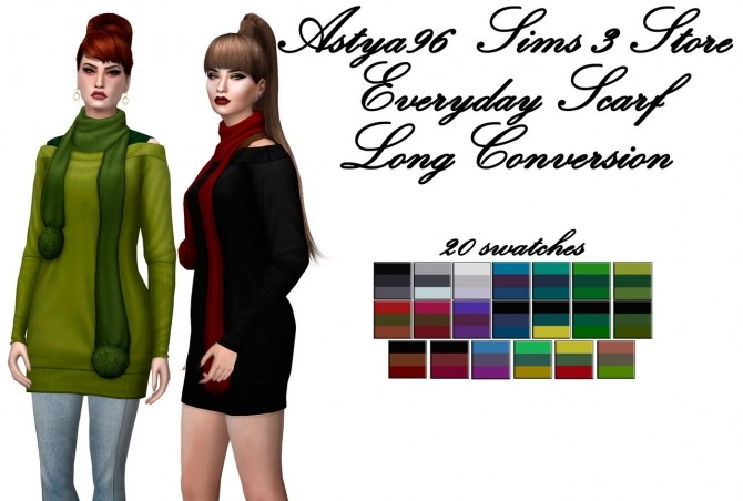 Everyday Scarf Long Conversion at Astya96 image 656 670x452 Sims 4 Updates
