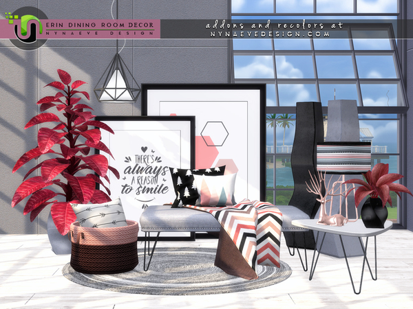 Sims 4 Erin Dining Room Decor by NynaeveDesign at TSR