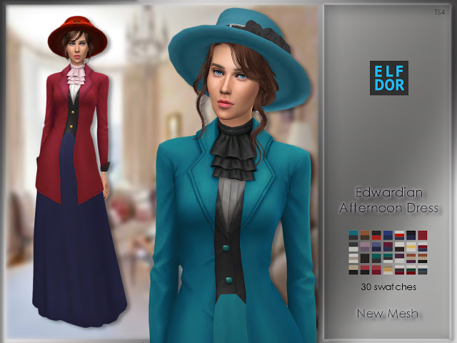 Edwardian Afternoon Dress at Elfdor Sims image 864 Sims 4 Updates