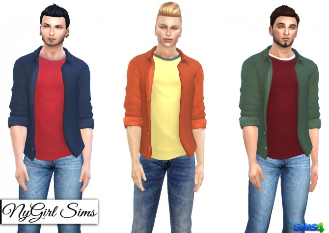 Sims 4 Rolled Sleeve Button Up with Layered Tee at NyGirl Sims