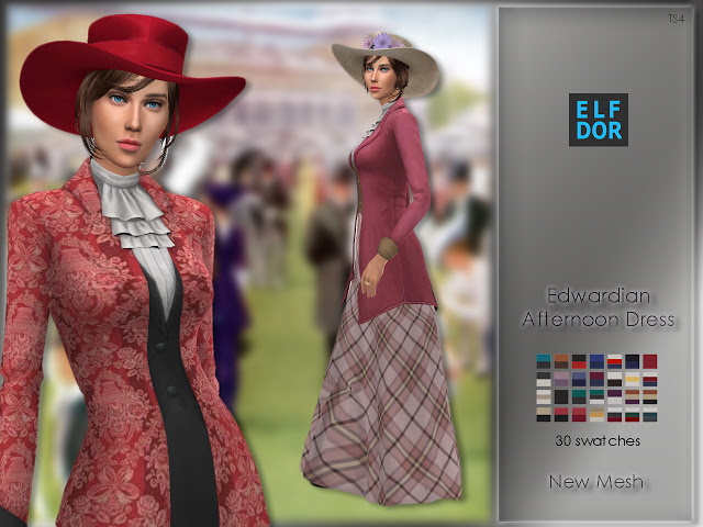 Edwardian Afternoon Dress at Elfdor Sims image 874 Sims 4 Updates