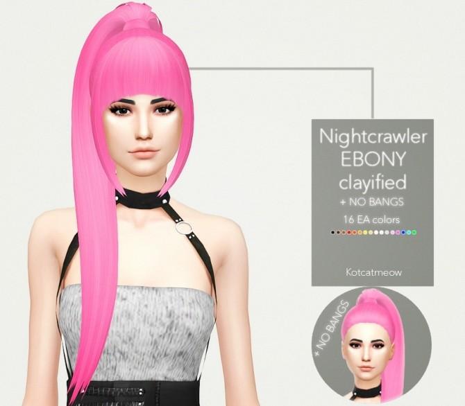 Sims 4 Nightcrawler Ebony Hair Clayified at KotCatMeow