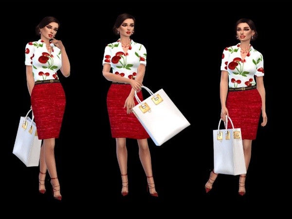 Sims 4 Red skirt and shirt with cherries by padry67 at TSR