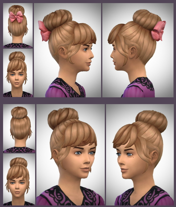 Sims 4 High Bun Bow & No Bow hair at Birksches Sims Blog