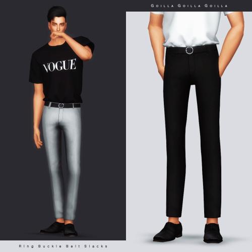Brand T Shirt & Ring Buckle Belt Slacks at Gorilla image 1002 Sims 4 Updates