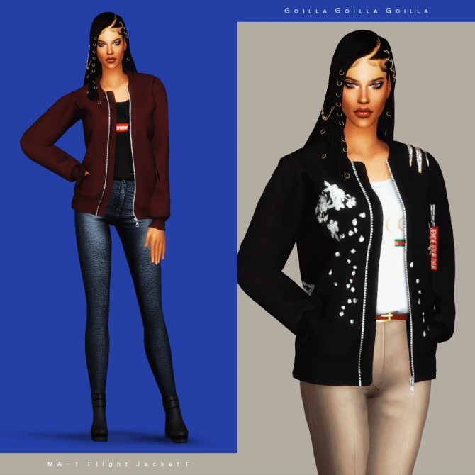 Sims 4 MA 1 Flight Jacket F at Gorilla