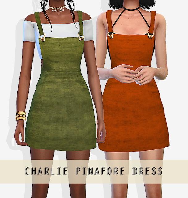 Sims 4 CHARLIE PINAFORE DRESS at Grafity cc
