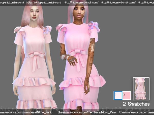 Sims 4 Tiered ruffle dress by Nitro Panic at TSR