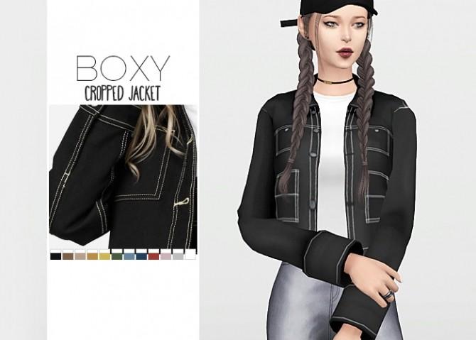 Sims 4 Boxy Cropped Jacket at Waekey