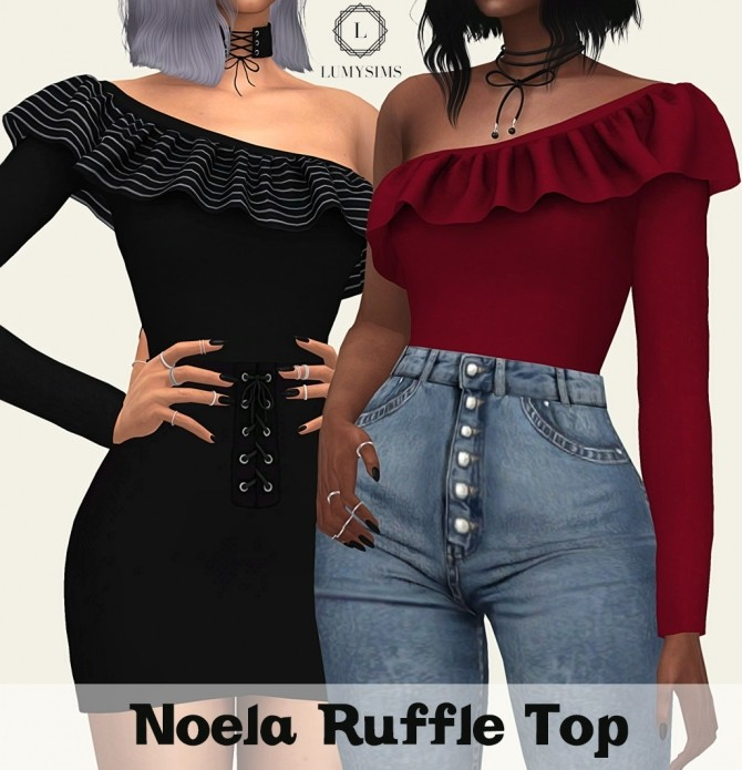 Noela Ruffle Top at Lumy Sims image 1231 670x695 Sims 4 Updates