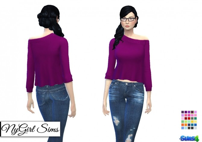 Off Shoulder Flare Sweater Plain at NyGirl Sims image 1233 670x474 Sims 4 Updates