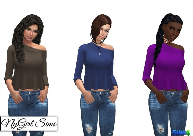 Off Shoulder Flare Sweater Plain at NyGirl Sims image 1243 670x474 Sims 4 Updates