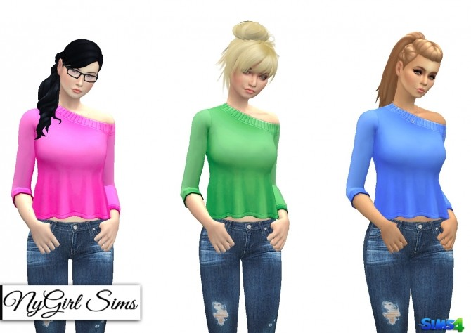 Off Shoulder Flare Sweater Plain at NyGirl Sims image 1253 670x474 Sims 4 Updates