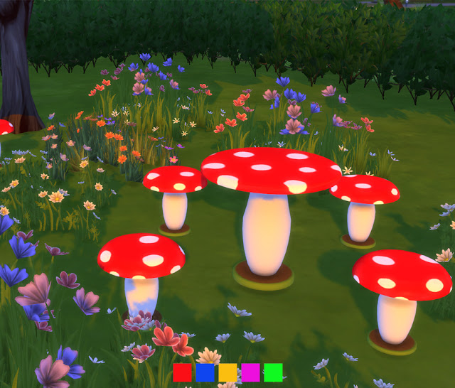Mushroom Outdoor Seating at Simlish Designs image 1256 Sims 4 Updates