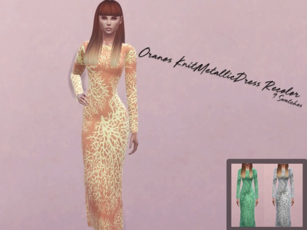 Oranos Knit Metallic Dress Recolor by Reevaly at TSR image 1337 Sims 4 Updates