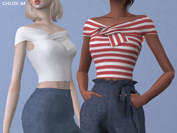 Sims 4 Off the shoulder Top by ChloeMMM at TSR