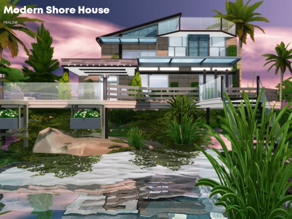 Sims 4 Modern Shore House by Pralinesims at TSR