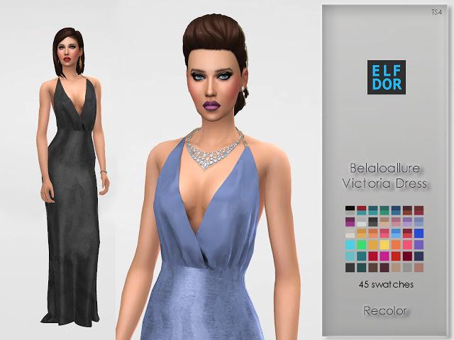Belaloallure Victoria Dress Recolor at Elfdor Sims image 1465 Sims 4 Updates