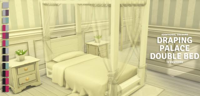 Sims 4 Draping Palace Double Bed at Simlish Designs
