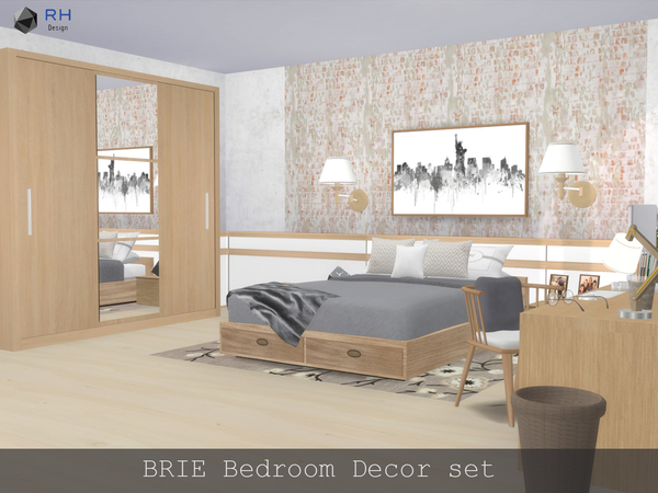 Sims 4 BRIE Bedroom Decor set by RightHearted at TSR