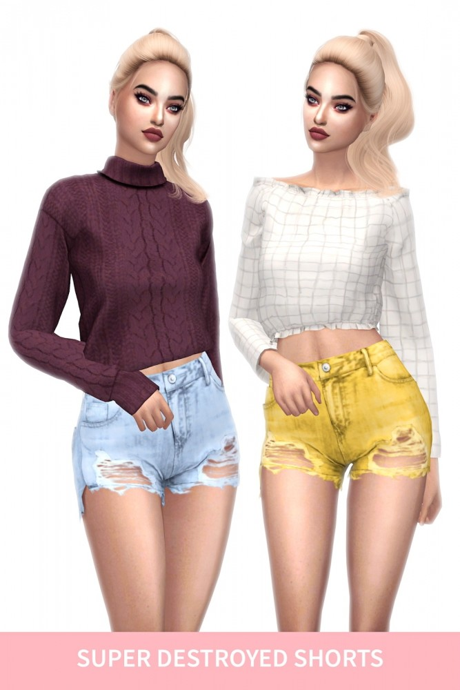 Sims 4 ELLIESIMPLE SUPER DESTROYED SHORTS at FROST SIMS 4