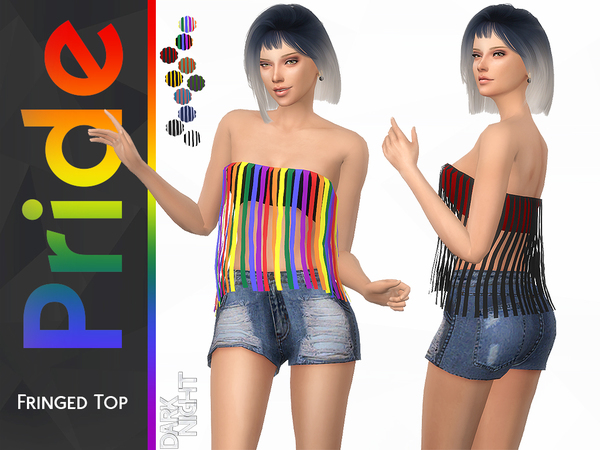 Pride Collection Fringed Top by DarkNighTt at TSR image 1620 Sims 4 Updates