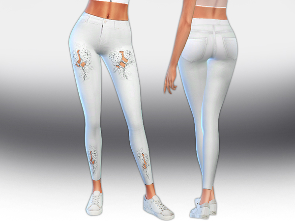 Cut Work White Jeans by Saliwa at TSR image 1641 Sims 4 Updates