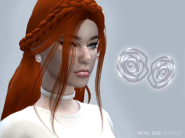 Sims 4 METAL ROSE EARRINGS by Liseth Barquero at BlueRose Sims