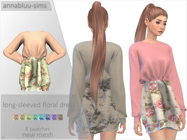Sims 4 Long Sleeved Floral Dress by Annabluu at TSR