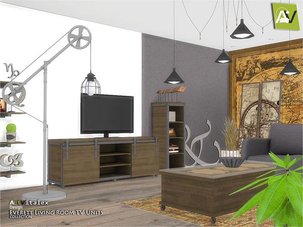 Everett Living Room TV Units by ArtVitalex at TSR image 1712 Sims 4 Updates