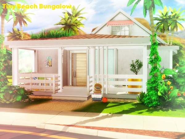 Sims 4 Tiny Beach Bungalow by Pralinesims at TSR