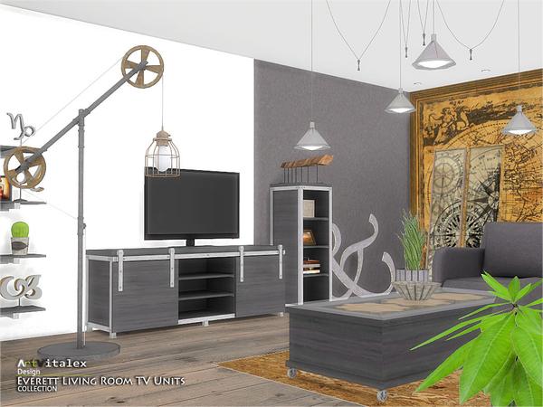 Everett Living Room TV Units by ArtVitalex at TSR image 1721 Sims 4 Updates